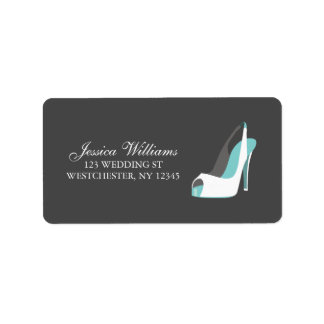 White and Blue Bride Shoes Address Label