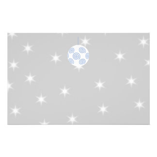 White and Blue Christmas Bauble On Starry Gray Full Color Flyer