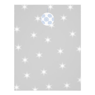 White and Blue Christmas Bauble. On Starry Gray. Flyer Design