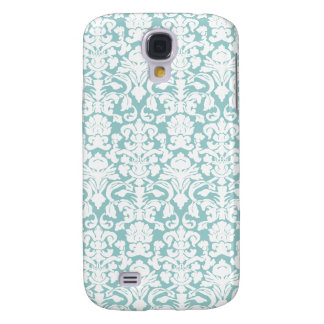 White and Blue Damask Galaxy S4 Case