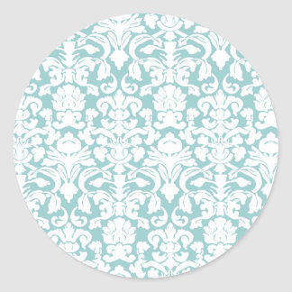 White and Blue Damask Round Stickers