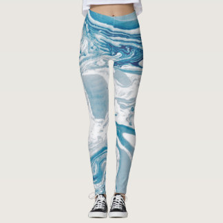 White and Blue Faux Marble Modern Leggings