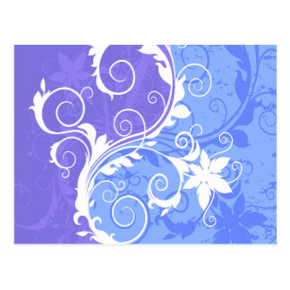 White and Blue Floral Grunge Postcard