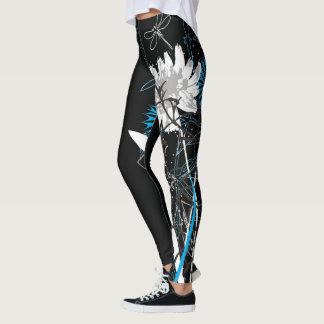 White and Blue Floral Leggins Leggings