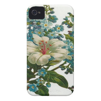 White and Blue Flowers Case-Mate iPhone 4 Case