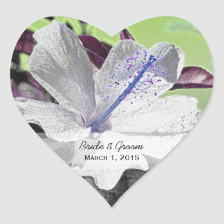 White and Blue Hibiscus Heart Wedding Stickers