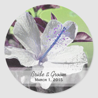 White and Blue Hibiscus Wedding Stickers