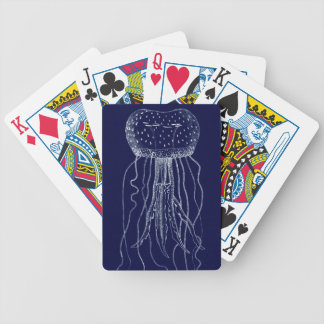 White and Blue Jellyfish Bicycle Playing Cards