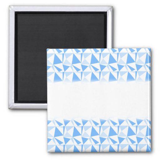White and Blue Modern Geometric Pattern. Refrigerator Magnet