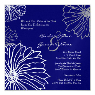White and Blue Mum Flowers Wedding Invitation
