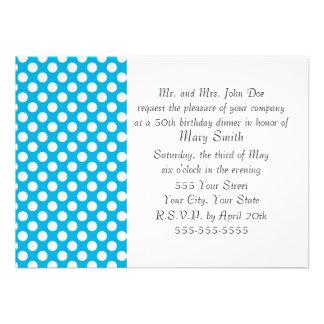 White and Blue Polka Dot Custom Invitations