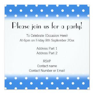White and Blue Polka Dot Pattern. 13 Cm X 13 Cm Square Invitation Card