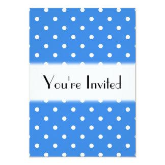 White and Blue Polka Dot Pattern. 13 Cm X 18 Cm Invitation Card