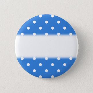 White and Blue Polka Dot Pattern. 6 Cm Round Badge