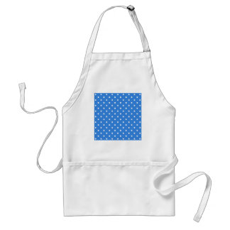 White and Blue Polka Dot Pattern. Adult Apron