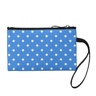 White and Blue Polka Dot Pattern. Coin Purse