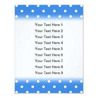 White and Blue Polka Dot Pattern. 11 Cm X 14 Cm Invitation Card