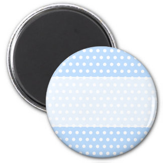 White and Blue Polka Dot Pattern. Spotty. 6 Cm Round Magnet