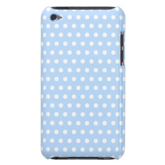 White and Blue Polka Dot Pattern. Spotty. Barely There iPod Case