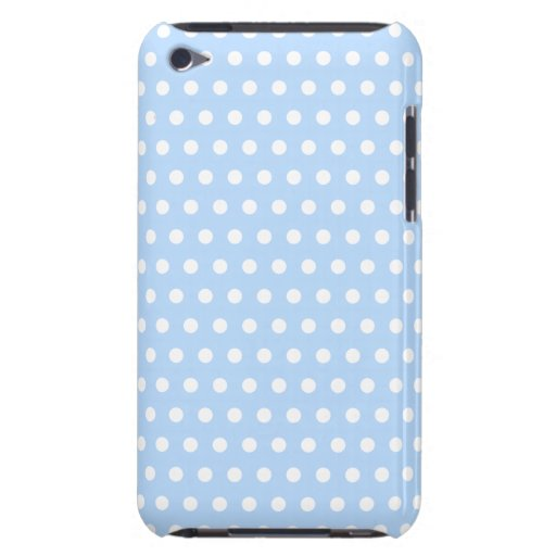 White and Blue Polka Dot Pattern. Spotty. iPod Touch Cases