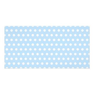 White and Blue Polka Dot Pattern. Spotty. Custom Photo Card