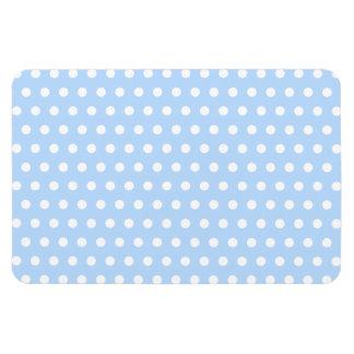 White and Blue Polka Dot Pattern. Spotty. Rectangular Photo Magnet