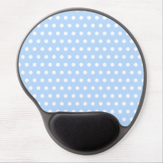 White and Blue Polka Dot Pattern. Spotty. Gel Mouse Mat