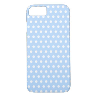 White and Blue Polka Dot Pattern. Spotty. iPhone 7 Case
