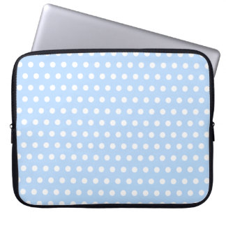 White and Blue Polka Dot Pattern Spotty Laptop Computer Sleeve
