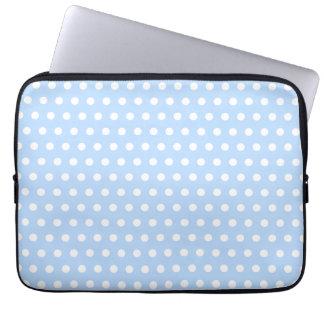 White and Blue Polka Dot Pattern. Spotty. Laptop Sleeve