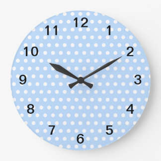 White and Blue Polka Dot Pattern. Spotty. Large Clock