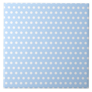 White and Blue Polka Dot Pattern. Spotty. Large Square Tile
