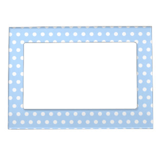 White and Blue Polka Dot Pattern. Spotty. Magnetic Frame