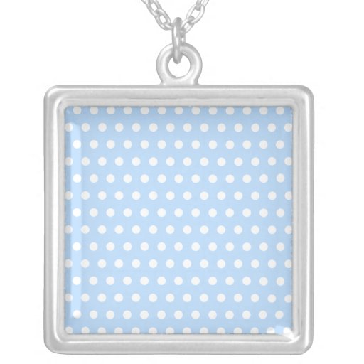 White and Blue Polka Dot Pattern. Spotty. Square Pendant Necklace