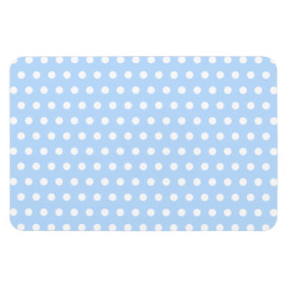 White and Blue Polka Dot Pattern Spotty Rectangle Magnets