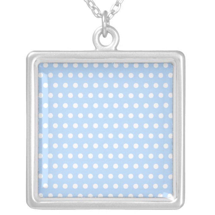 White and Blue Polka Dot Pattern. Spotty. Silver Plated Necklace