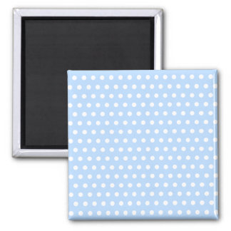 White and Blue Polka Dot Pattern. Spotty. Square Magnet