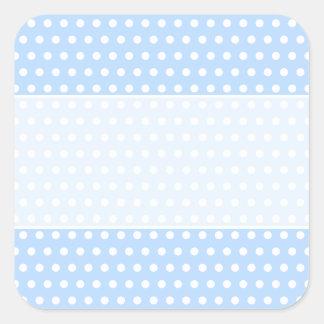 White and Blue Polka Dot Pattern. Spotty. Square Sticker