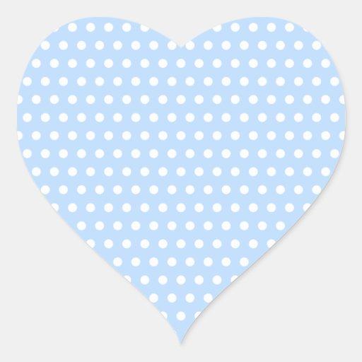 White and Blue Polka Dot Pattern. Spotty. Heart Sticker