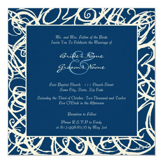 White and Blue Sketchy Frame Wedding Invitation