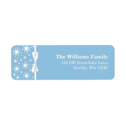 White and Blue Snowflakes Ribbon Christmas Address