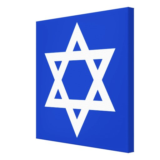 White and Blue Star of David Stretched Canvas Prints