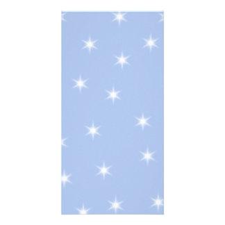 White and Blue Stars Design Photo Card