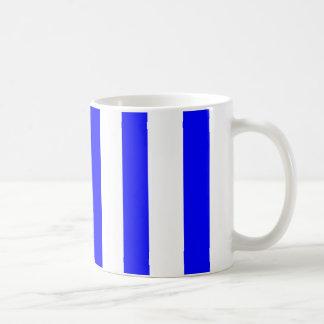 White and Blue Stripes Basic White Mug