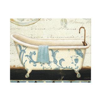 White and Blue Vintage Bath Tub Canvas Print