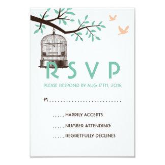 White and Blue Wedding RSVP Card Vintage BirdCage 9 Cm X 13 Cm Invitation Card
