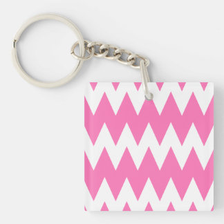 White and Bright Pink Zigzags. Key Ring