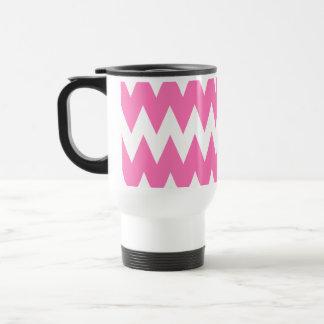 White and Bright Pink Zigzags. Travel Mug