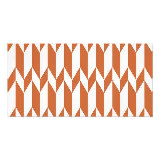 White and Brown Abstract Graphic Pattern Photo Card