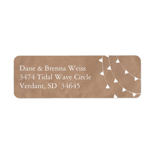 White and Brown Banner Bunting Return Address Return Address Label